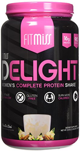 FitMiss Delight Protein Powder- Healthy Nutritional Shake for Women with Whey Protein, Fruits, Vegetables and Digestive Enzymes to Support Weight Loss and Lean Muscle Mass, Vanilla Chai, 2 Pound (Whey Protein Powder Shake)