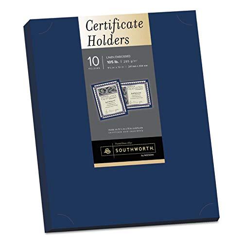 Southworth Certificate Holder, Navy, 105lb Linen Stock, 12 x 9 1/2, 10/Pack - PF8, 2 packs ()