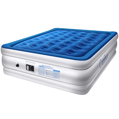 Cumbor Luxury Queen Air Mattress with Built-in Pump, Best Inflatable Airbed with Structured Air Coil...