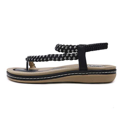 Mysky Summer Women Popular Bohemian Crystal Weave Strap Clip Toe Comfy Flat Stretch Band Sandals ()
