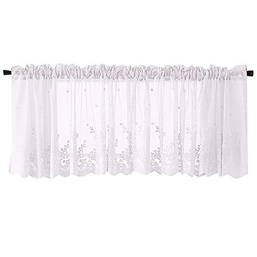(GXOK Lace Curtains, Woven Textured Valance for Bathroom Water Repellent Window Covering (White))
