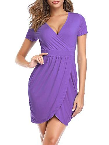 MSBASIC Purple Dress Mock Wrap Casual Dresses for Women Purple XL