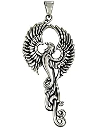 Sterling Silver Rise of the Phoenix Pendant; Symbol of Eternity and Immortality