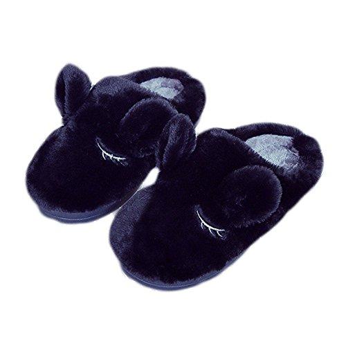 Cybling Zapato De Casa De Invierno Lindo Felpa Antideslizante Cómodo Zapatos Para Mujer Negro