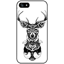Black and White Deer Phone Case Custom Well-designed Hard Case Cover Protector For Iphone 5 5s