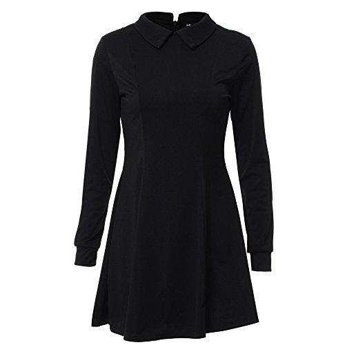 Coolred Femmes Automne Hiver Couleur Pure Trompette Manches Longues Courte Robe Noire