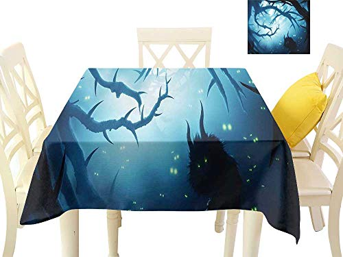 cobeDecor Fabric Dust-Proof Table Cover Animal with Burning Eyes in Dark Forest at Night Horror Halloween Illustration W60 x L60, Waterproof/Oil-Proof/Spill-Proof Tabletop Protector