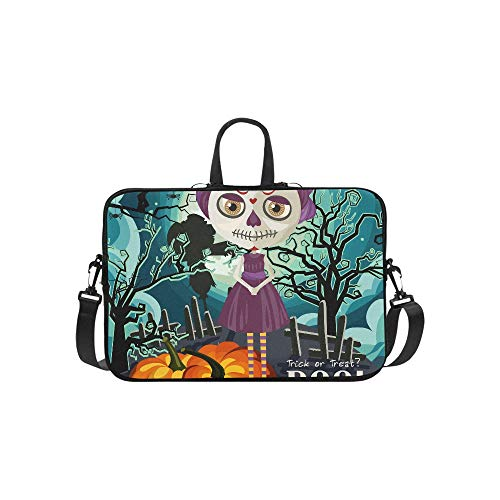 Happy Halloween Vector Invitation Card with Zombie Pattern Briefcase Laptop Bag Messenger Shoulder Work Bag Crossbody Handbag for Business Travelling]()