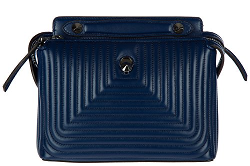 Handbag Fendi Blue (Fendi women's leather shoulder bag original dotcom nappa shiny blu)