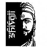 FusionShivaji Maharaj Auto Hood Bumper Front Sides Bike Stickers- Black (11.5 x 16.5 cm)