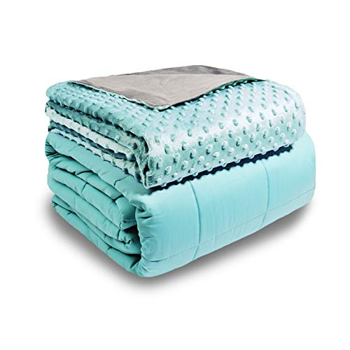 Aemicion-Weighted-Blanket-with-Cover-Sea-Grass-Minky-Cover-Grey-Cotton-Blanket-48x72-15LBS