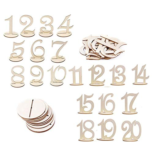 20 Pieces Number 1 to 20 Place Wooden Card Wedding Birthday Party Table Decoration