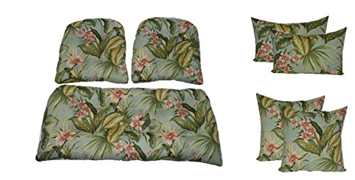 Resort Spa Home Wicker Cushions and Pillows 7 Pc Set - Tufted Wicker Loveseat & 2 Chair Cushions and 17