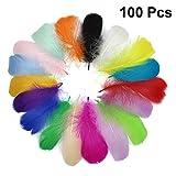 Healifty 100pcs DIY Artesanía Plumas para Dream Catchers Pendientes Craft Wedding Hat Accesorios para el cabello Inicio Decoraciones para fiestas (colores mezclados / 8-12cm)