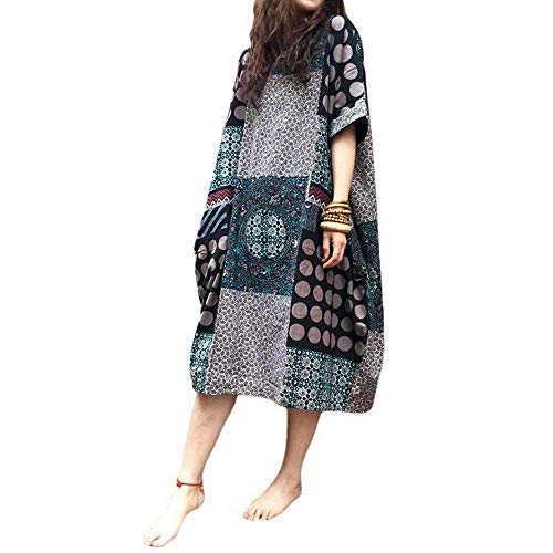 (Women Dress Plus Size Tunic Tribal Summer Dress Baggy National Style Round Neck Cotton Loose Short Sleeve Side Sewing Pocket Midi Dress Toponly)