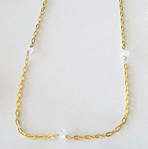 Dainty Raw Herkimer Diamond Crystal Point Choker Necklace for Women 14k Gold Fill Chain 13' - 14' adjustable length