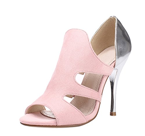 pink velveteen Women's Sexy High Toe Stiletto Pumps Peep Sandals Shoes Heels FTFvqzwx