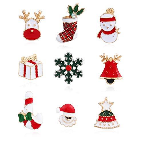 - Set 9 Pcs Christmas Themed Brooch Pins Enamel Jewelry Breastpin Santa Claus Snowman Jingle Bell Christmas Tree Stockings Candy Cane Snow Reindeer Gift Ornaments Lapel Pin for Christmas Decoration
