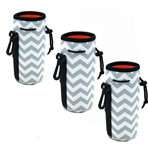 20 Oz Bottle Tote - Af-Wan Water Bottle Cooler Carrier for 16oz - 20oz Water Bottle,Protable Neoprene Insulated Water Drink Bottle Cover Sleeve Tote Bag Pouch Holder Strap.(3pcs) (White)