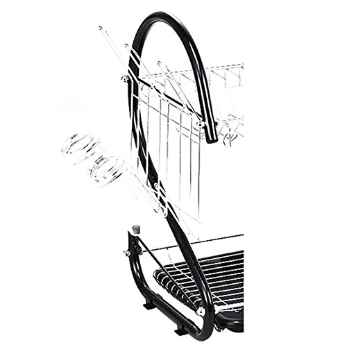 Dish Drying Rack - TOOGOO(R) Stainless Steel 2 Tiers Kitchen Dish Cup Drying Rack Drainer (Color:black)