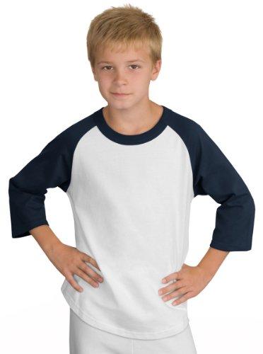 Sport-Tek Youth Colorblock Raglan Jersey, White/Navy, (Sport Tek Youth Color)