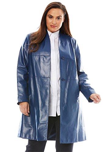 Jessica London Women's Plus Size Leather Swing Coat Dark Cobalt,20 by Jessica London