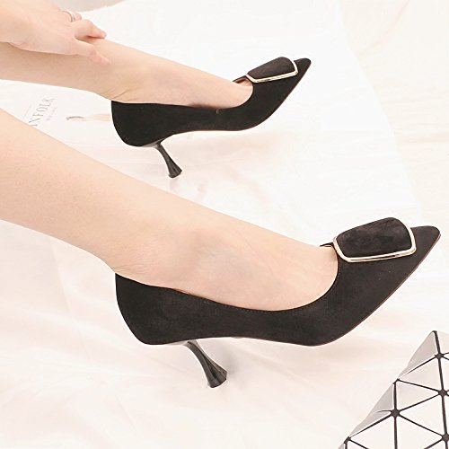 Light Fine Shoes Tip Work Single A Heeled Metal Shoe Shoes The Ties In Party With 7Cm Velvet Girl High The Spring Of Black KPHY vnWqR44