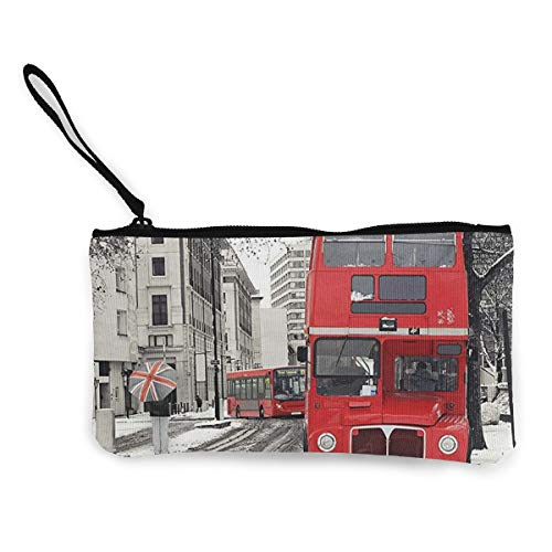 LAWRENCE ART Cash Coin Purse,Cellphone Canvas Bag With Handle,Personalized Cosmetic Pencil Case/Pen Box/Storage Bag,Multifunctional Pouch Stationary Holder - London Red Bus Winter Patriot