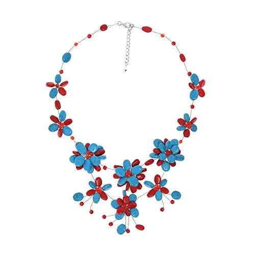 AeraVida Modern Simulated Turquoise & Reconstructed Red Coral Flower Collar Necklace