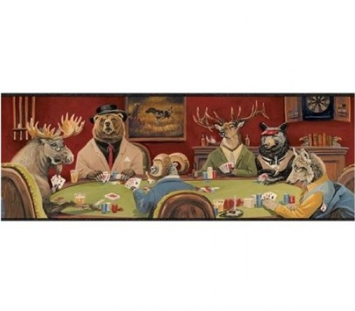 Wallpaper Border Card Game Moose, Bear, Elk, Fox & Sheep