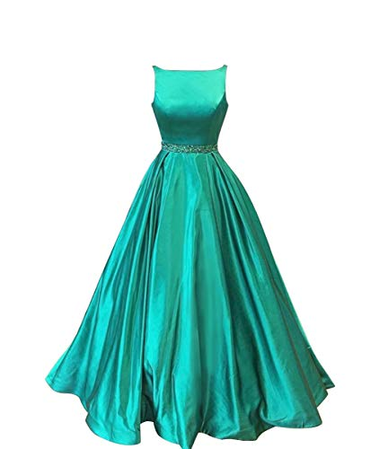 Long Prom Dresses with Pockets Satin Formal Beaded A-line Evening Gowns for Women Turquoise Size 2 ()