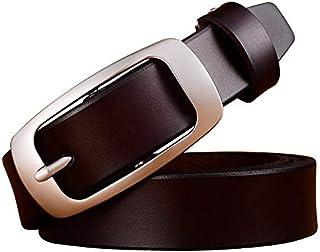 Lady italien ceinture en cuir de vachette lisse boucle largeur pure cuir jeans occasionnels ceinture ceinture fille étudiante et collègues femmes comme cadeau d'anniversaire
