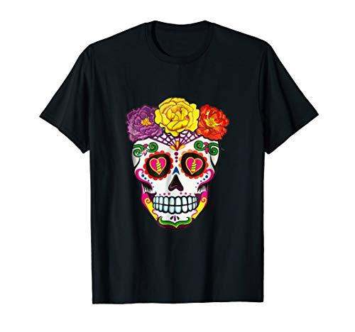 Colorful Flower Sugar Skull Day Costum T-Shirt ()