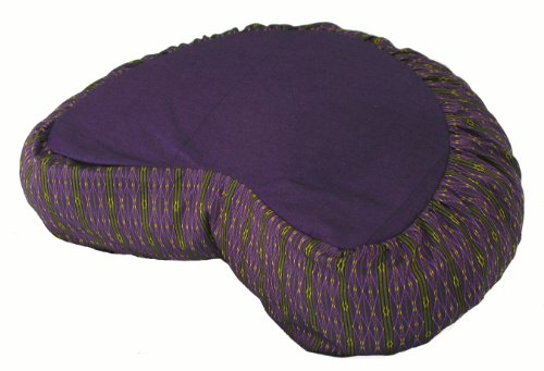 Meditation Cushion Crescent Zafu - Global Weave Purple
