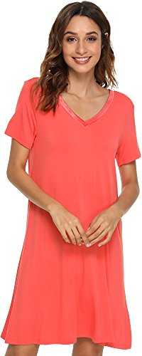 GYS Women's Short Sleeve Nightshirt V Neck Bamboo Nightgown, Large, Peach