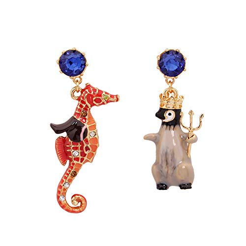 Quality Mosaic Show Silver (ChuangYing Penguin Hippocampus Asymmetric Ear Nail S925 Silver Needle Ear Nail)