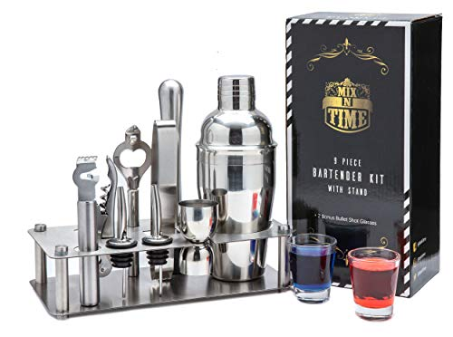 Mix-n-Time Bartender Kit with Stand| Includes 2 Shot Glasses| Best Stainless Steel Cocktail Shaker Set| Bar Set with 11 Pieces| Mixologist set| Bar Kit| Bar Tool Set| Cocktail Set for Drink Mixing