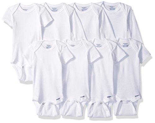 Gerber Baby 8-Pack Onesies Bodysuits, White Long