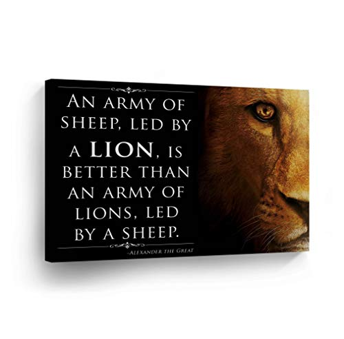 `An Army Sheep Led By A Lion Is Better Than An Army Led By Sheep` Quote CANVAS PRINT Inspirational Wall Art Saying Home Decor Artwork Gallery Stretched Ready to Hang- ()