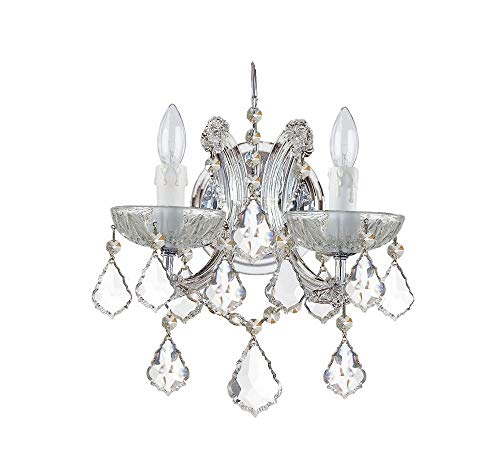 Crystorama 4472-CH-CL-MWP Crystal Two Light Wall Sconce from Maria Theresa collection in Chrome, Pol. Nckl.finish,