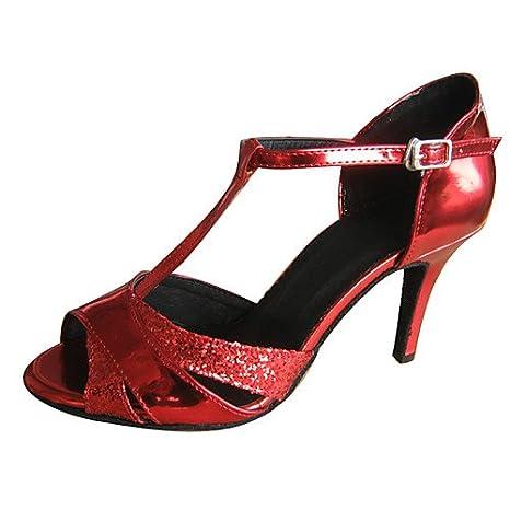 T.T-Q Talons Femmes Chaussures de Danse Rouge Latin Sandals Salsa Jazz Tango Swing Pratique Indoor Performance