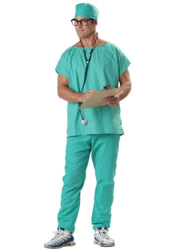 California Costumes Men's Doctor Scrubs Costume, Green, (Medical Halloween Costume)
