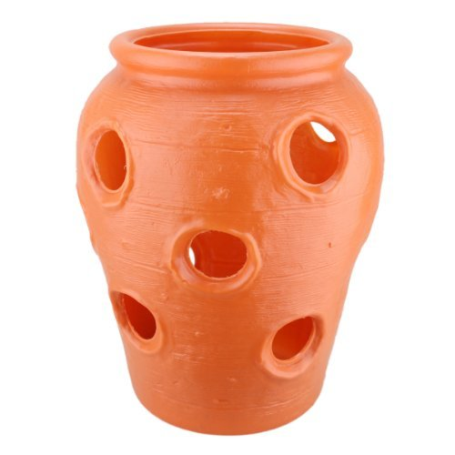 Large Strawberry Jar: Terra Cotta Color Plastic Planter - Made in the USA!