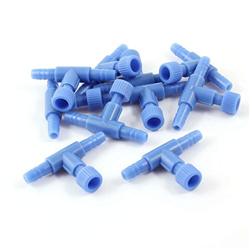 AKOAK 10 Pack Blue Plastic Fish Tank Air Pump Control Valves Aquarium Hose Connector 2 Way Adjustment Control Valves Aquatic Accessories Supplies ()