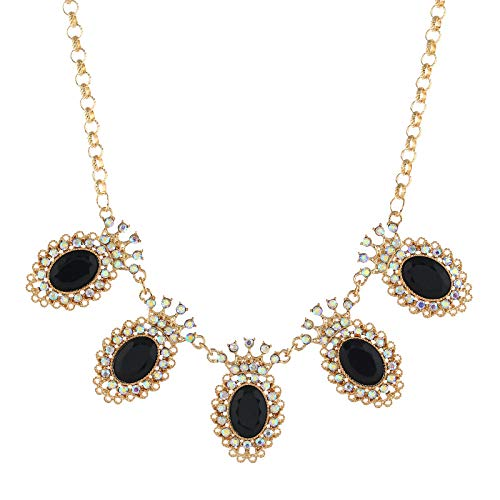 Haluoo Waterdrop Crystal Bib Statement Necklace Vintage Luxurious Oval Gemstones Pendant Collar Necklace Gold Plated Sweater Chain for Women Wedding Engagement Luxury Jewelry (Black)