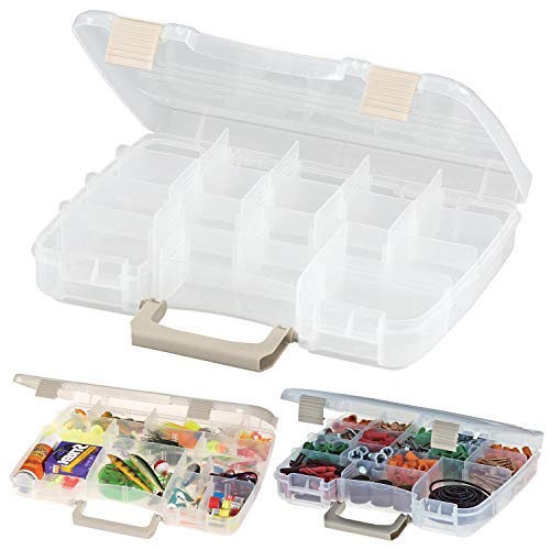 Pearl Enterprise Plastic Satchel Utility Box, Tackle Box Storage Container Multiple Sections Organizer, Plano Stowaway Case with Compartments and a Satchel Handle Size Medium ()