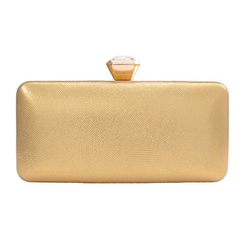 Darama Womens Exquisite Hardcase Top Clasp Wedding Clutch Bags,Gold