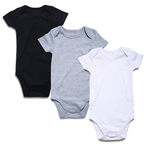 ROMPERINBOX Place Unisex Baby Bodysuits 100% Cotton 0-24 Months (0-3 Months, Black White Grey Short Sleeve)