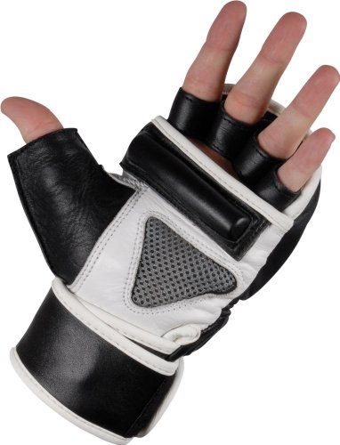 TITLE Wristwrap Leather Heavy Bag Gloves, Black, Large