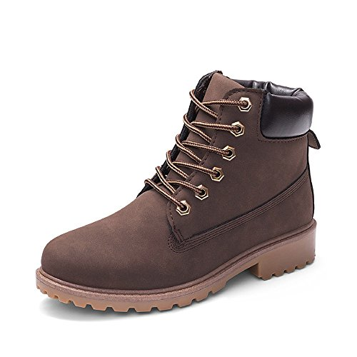Wear Womens Ankle Height Resistant Ankle Shoes Boots Flat Martin Boots Brown Solid MOIKA 6CFtqwxdq